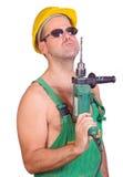 Tecnico di manutenzione con il trivello di mano Fotografie Stock Libere da Diritti