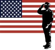 Tecnico di manutenzione e bandierina militari Fotografia Stock Libera da Diritti