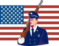 Tecnico di manutenzione militare degli Stati Uniti con la bandierina Immagine Stock Libera da Diritti