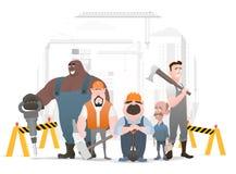 Tecnico e costruttori ed ingegneri e meccanici e lavoro di squadra del muratore, personaggio dei cartoni animati dell'illustrazio royalty illustrazione gratis