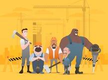 Tecnico e costruttori ed ingegneri e meccanici e lavoro di squadra del muratore, personaggio dei cartoni animati dell'illustrazio illustrazione di stock