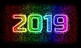 Tecnología 2019, año del Año Nuevo de tecnología fotos de archivo libres de regalías