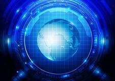 Tecnología abstracta con el fondo del globo Imagenes de archivo