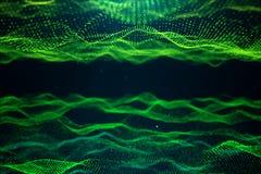 Tecnología abstracta de los datos Paisaje de Digitaces con las partículas, puntos Tecnología del ciberespacio El consistir en sup ilustración del vector