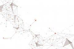 Tecnología abstracta Diseño de color anaranjado conectado de los puntos en el fondo blanco Imagen de archivo