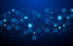Tecnología abstracta y concepto social de los iconos de las comunicaciones Hexágonos y geométrico abstractos en fondo azul marino ilustración del vector