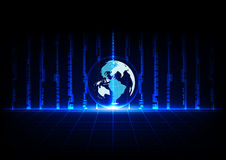 Tecnología azul abstracta y mundo del concepto con perspectiva de las rejillas Imágenes de archivo libres de regalías