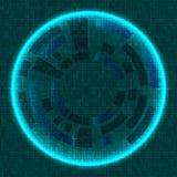 Tecnología con las líneas círculos e imagen de fondo que brilla intensamente verde oscuro Vector Foto de archivo libre de regalías