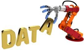 Tecnología de almacenamiento de los datos del web de la mano del robot Fotografía de archivo libre de regalías