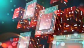 Tecnología de Blockchain Bloques de información en espacio digital Red global descentralizada Protección de datos del ciberespaci stock de ilustración