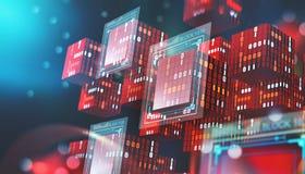 Tecnología de Blockchain Bloques de información en espacio digital Red global descentralizada Protección de datos del ciberespaci ilustración del vector
