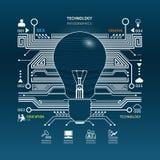 Tecnología de circuito creativa del extracto de la bombilla infographic.vect Fotografía de archivo