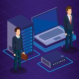 Tecnología de Digitaces con los hombres de negocios isométricos Imagen de archivo libre de regalías