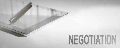 Tecnología de Digitaces del concepto del negocio de la NEGOCIACIÓN imagen de archivo