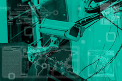 Tecnología de la cámara CCTV en pantalla de visualización Fotografía de archivo libre de regalías