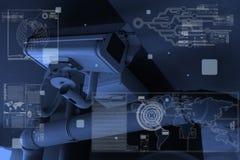 Tecnología de la cámara CCTV en pantalla de visualización Fotos de archivo libres de regalías
