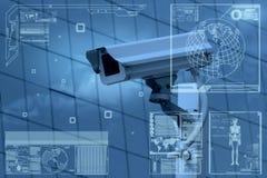 Tecnología de la cámara CCTV en pantalla de visualización Foto de archivo