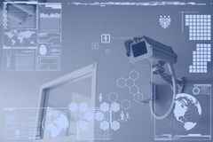 Tecnología de la cámara CCTV o de la vigilancia en pantalla de visualización Imagen de archivo libre de regalías