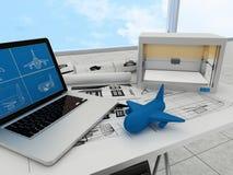 tecnología de la impresión 3d, avión de la impresión Imagenes de archivo