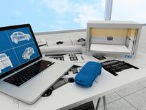 tecnología de la impresión 3d, coche de la impresión Imagen de archivo libre de regalías