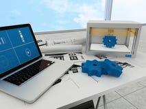 tecnología de la impresión 3d, engranajes de la impresión Imágenes de archivo libres de regalías