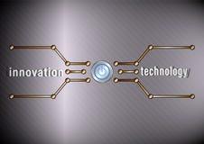 Tecnología de la innovación Botón de encendido y línea poligonal en fondo del metal stock de ilustración