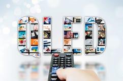 Tecnología de la innovación de la exhibición del punto TV del quántum de QLED fotografía de archivo