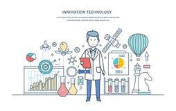 Tecnología de la innovación Introducción de soluciones de la investigación, trabajos científicos, pensamiento creativo ilustración del vector