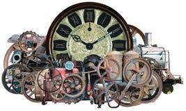 Tecnología de la máquina de tiempo de Steampunk aislada fotos de archivo