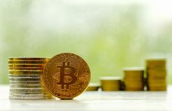 Tecnología de la moneda de la moneda BTC del pedazo de Bitcoin Cryptocurrency Digital Fotos de archivo libres de regalías