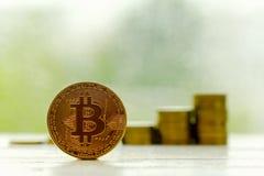 Tecnología de la moneda de la moneda BTC del pedazo de Bitcoin Cryptocurrency Digital Fotos de archivo