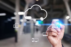 Tecnología de la nube Almacenamiento de datos Concepto del servicio del establecimiento de una red y de Internet imagen de archivo libre de regalías