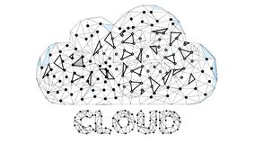 Tecnología de la nube Concepto de Cloud Computing, de Big Data o de Cloud Computing Fondo digital abstracto Nube de Wireframe libre illustration