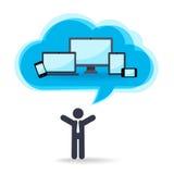 Tecnología de la nube para diversos dispositivos stock de ilustración