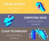 Tecnolog?a de la nube de la web y concepto del establecimiento de una red ilustración del vector