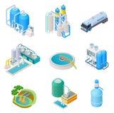 Tecnología de la purificación del agua El sistema industrial del agua isométrica del tratamiento, vector del separador de las agu libre illustration