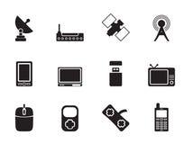 Tecnología de la silueta e iconos de las comunicaciones stock de ilustración