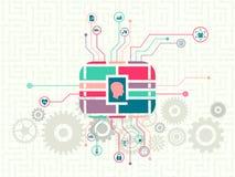 Tecnología de los datos y concepto del aprendizaje de máquina ilustración del vector
