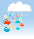Tecnología de ordenadores de la nube de lluvia de la carpeta del fichero de datos