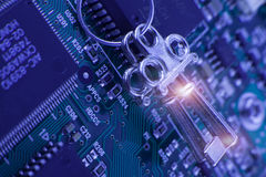 Tecnología de seguridad - llave de cerradura, código imagen de archivo libre de regalías