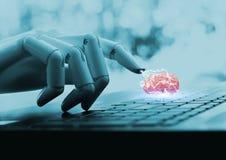 Tecnología del ai del cerebro de la CPU del concepto del ordenador del robot foto de archivo libre de regalías