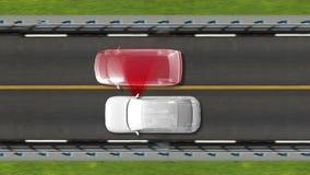 Tecnología del automóvil Alarma del carril del camino automotor Visión superior libre illustration