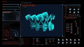 Tecnología del automóvil Opinión superior de la radiografía del pistón del motor en el panel del indicador digital Interfaz de us stock de ilustración