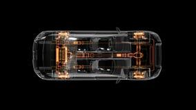 Tecnología del automóvil Sistema del eje impulsor, motor, asiento interior Opinión superior de la radiografía