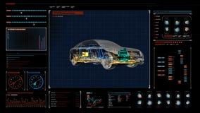 Tecnología del automóvil Sistema del eje impulsor, motor, asiento interior Radiografía vista lateral de 360 grados en el panel de stock de ilustración