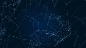 Tecnología del extracto de la fantasía del plexo Fondo geométrico abstracto con las líneas, los puntos y los triángulos móviles c metrajes