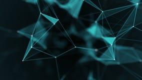 Tecnología del extracto de la fantasía del plexo Fondo geométrico abstracto con las líneas, los puntos y los triángulos móviles stock de ilustración