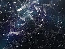 Tecnología del extracto de la fantasía del plexo y fondo de la ingeniería representación 3d Fondo digital abstracto con las partí stock de ilustración