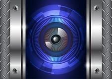 Tecnología del globo del ojo con el fondo de la puerta del hierro Fotos de archivo libres de regalías