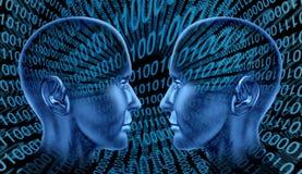 Tecnología del intercambio de Digitaces que comparte el código binario HU stock de ilustración